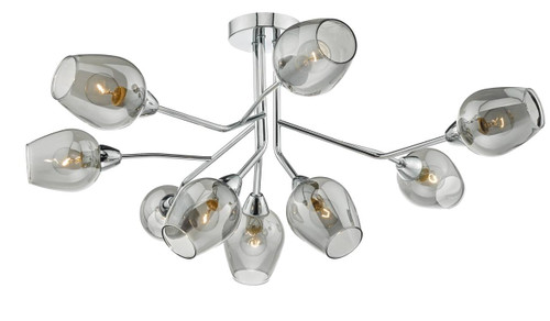 Eloise 9 Light Polished Chrome and Smoked Glass Semi Flush Ceiling Light