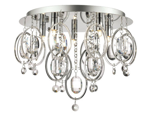 Evangeline 5 Light Chrome with Clear Glass and Crystal Flush Ceiling Light
