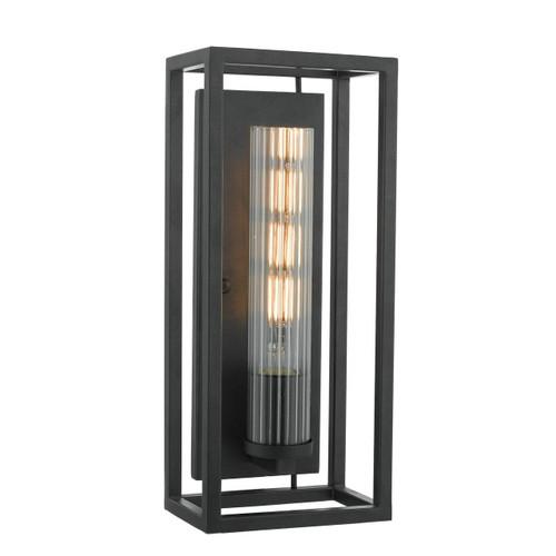 Felipe 4 Light Black with Ribbed Glass Wall Light