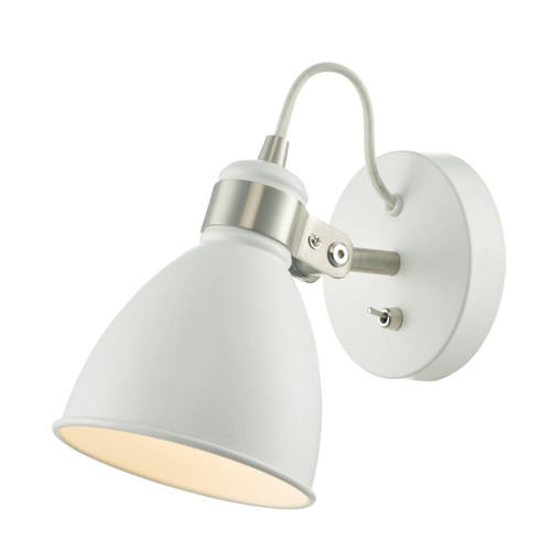 Frederick White and Satin Chrome Adjustable Wall Light