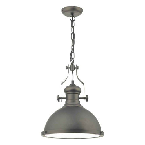 Arona Antique Pewter & Glass Industrial Metal Pendant light