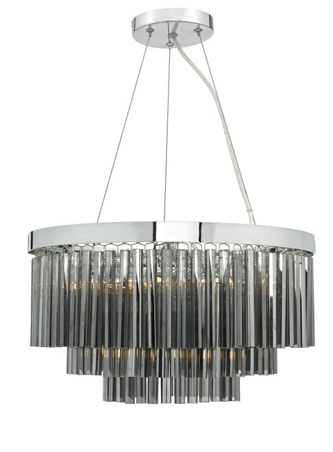 Giovana 5 Light Polished Chrome and Smoked Glass Pendant Light
