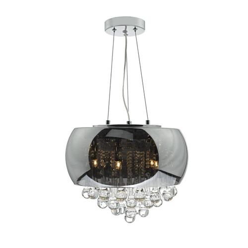Giselle 5 Light Smoked and Clear Glass Chandelier Pendant Light