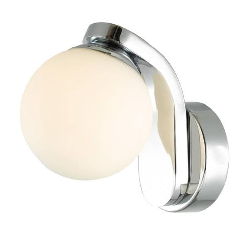 Iker Polished Chrome with Opal White Glass LED IP44 Bathroom Wall Light