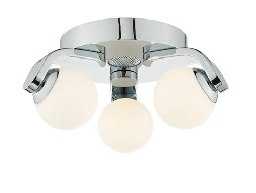 Iker 3 Light Chrome with Opal Glass and Bluetooth Speaker LED IP44 Bathroom Flush Ceiling Light