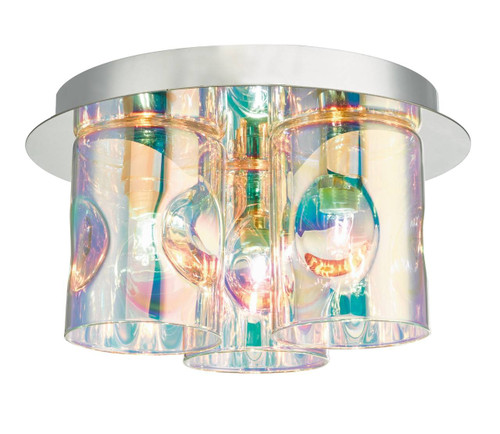 Inter 3 Light Polished Chrome and Iridised Glass Flush Ceiling Light