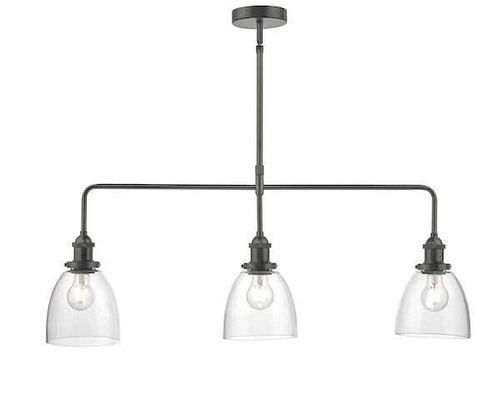 Arvin 3 Light Antique Chrome & Glass Bar Pendant Light