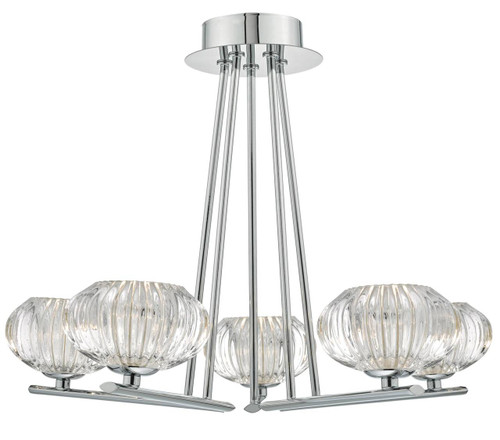 Jensine 5 Light Polished Chrome and Faceted Glass Semi Flush Pendant