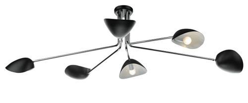 Krug 6 Light Black and Polished Chrome Semi Flush Ceiling Light