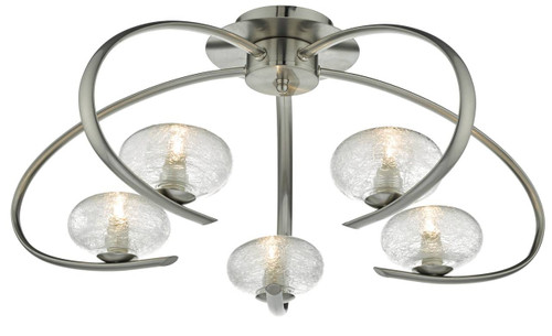 Leighton 5 Light Satin Chrome and Sugar Cane Glass Semi Flush Ceiling Light