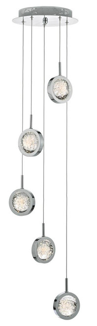 Livia 5 Light Polished Chrome and Glass Spheres LED Cluster Pendant
