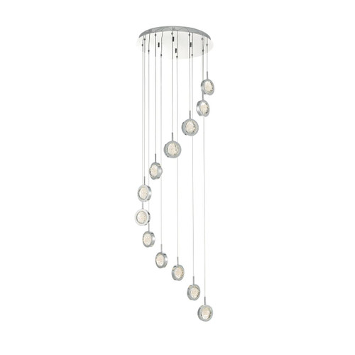Livia 12 Light Polished Chrome and Glass Spheres LED Cluster Pendant
