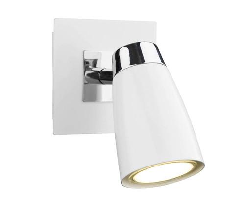 Loft 1 Light Polished Chrome and Matt White Low Energy Spot Wall Light