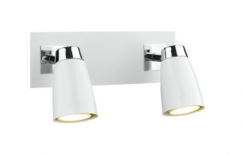 Loft 2 Light Polished Chrome and Matt White Low Energy Spot Wall Light