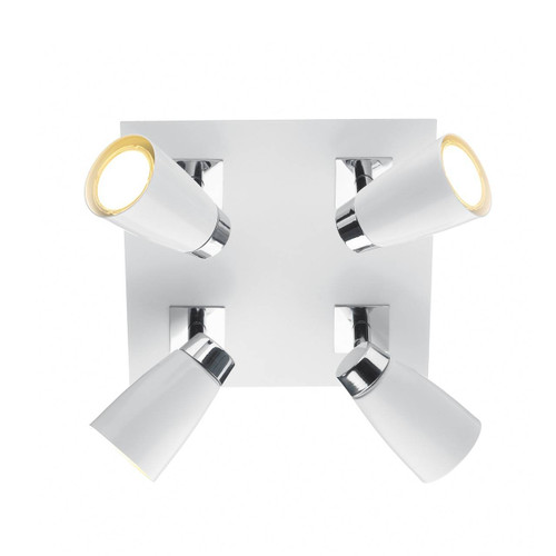 Loft 4 Light Polished Chrome and Matt White Square Plate Spotlight