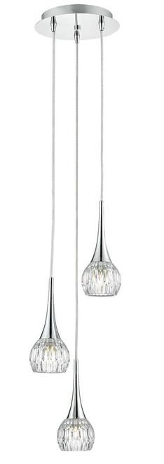 Lyall 3 Light Polished Chrome and Decorative Glass Spiral Pendant Light