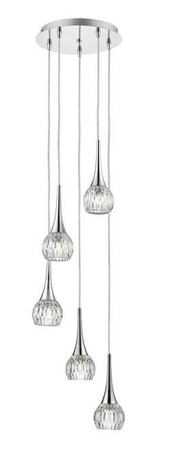 Lyall 5 Light Polished Chrome and Decorative Glass Spiral Pendant Light