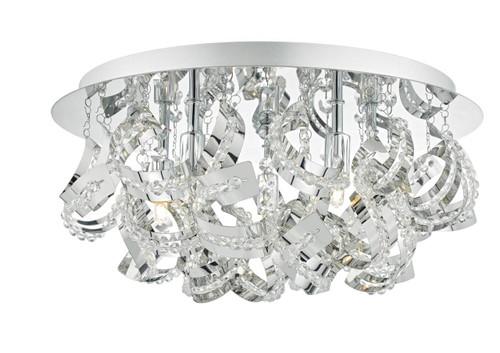 Mezen 5 Light Polished Chrome and Crystal Flush Ceiling Light