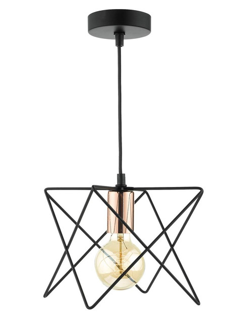 Midi Matt Black and Bright Copper Square Wire Pendant Light