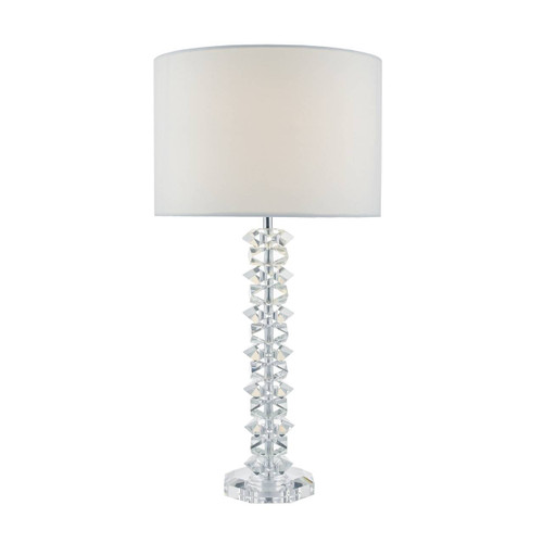 Mina Polished Chrome and Crystal with Cream Cotton Shade Table Lamp