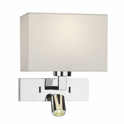 Dar Lighting Modena Polished Chrome with Reading Light LED Wall Light Bracket Only