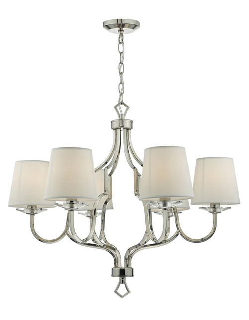 Nerva 6 Light Polished Nickel and Crystal Chandelier Pendant Light
