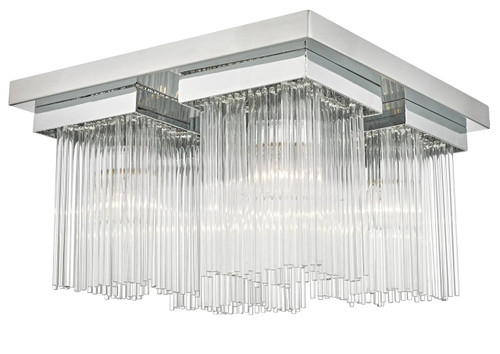 Odette 4 Light Polished Chrome and Clear Glass Rods Square Flush Ceiling Light