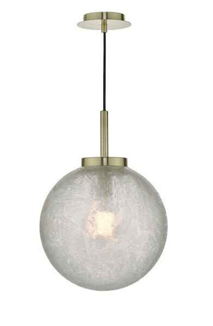 Avari Satin Brass And Clear Frosted Glass Pendant Light