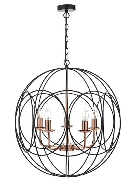 Phoenix 5 Light Black and Copper Looped Frame Pendant Light