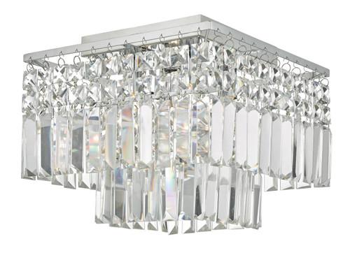 Poseidon 4 Light Polished Chrome and Crystal 2 Tier Flush Ceiling Light