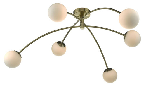 Puglia 6 Light Antique Brass and Opal Glass Semi Flush Ceiling Light