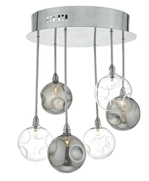 Quinn 6 Light Polished Chrome with Smoked and Clear Glass Semi Flush Ceiling Light