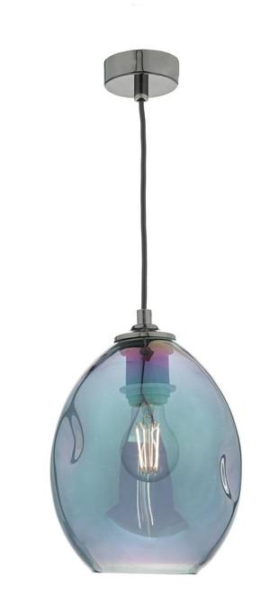 Rogan Black Nickel and Iridised Glass Pendant Light