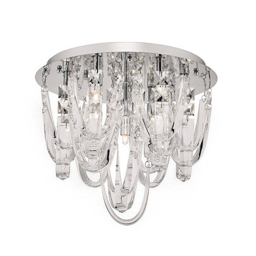 Roxanne 7 Light Polished Chrome and Suspended Crystal Flush Ceiling Light