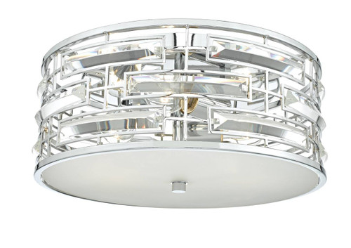 Seville 3 Light Polished Chrome and Crystal with Opal Diffuser Flush Ceiling Light