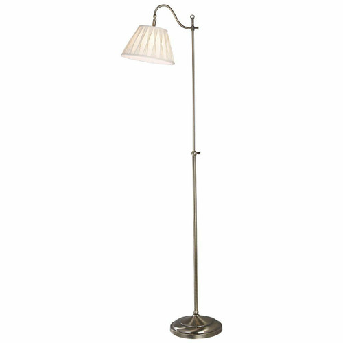 Dar Lighting Suffolk Antique Brass Rise and Fall with Cream Cotton Shade Floor Lamp