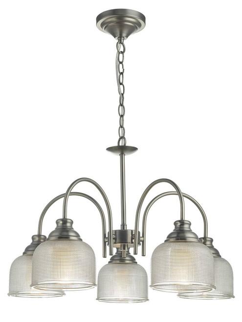 Tack 5 Light Antique Chrome and Textured Glass Pendant Light