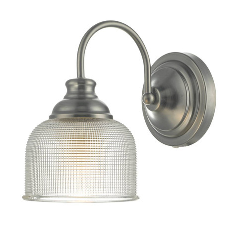 Tack Antique Chrome and Textured Glass Wall Light