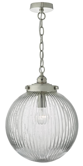 Tamara Satin Nickel and Ribbed Glass Pendant Light