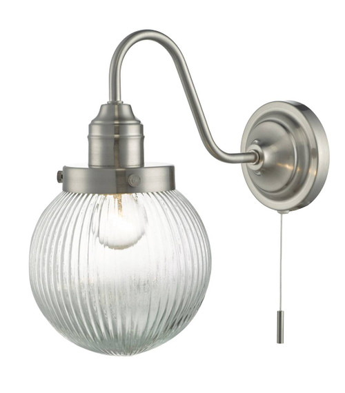 Tamara Satin Nickel and Ribbed Glass Wall Light