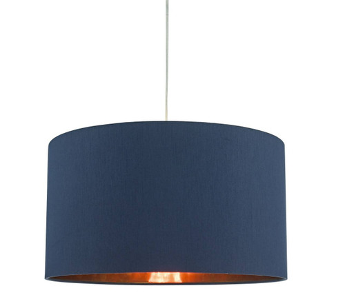 Timon Easy Fit Faux Silk Drum Shade with Copper Laminate Pendant Shade Only