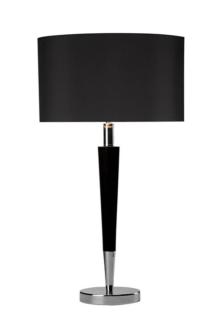 Viking Polished Chrome and Black with Black Linen Shade Table Lamp