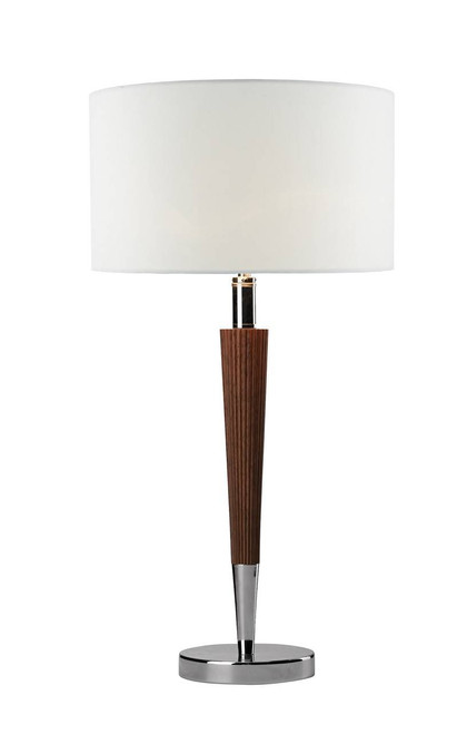 Viking Polished Chrome and Dark Wood with Cream Linen Shade Table Lamp