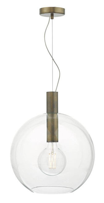 Zula Aged Bronze with Clear Glass Pendant Light