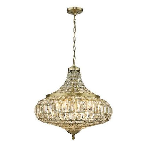 Dar Lighting Asmara 6 Light Antique Brass with Crystal Pendant Light