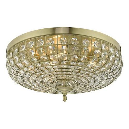 Dar Lighting Asmara 5 Light Antique Brass with Crystal Flush Ceiling Light