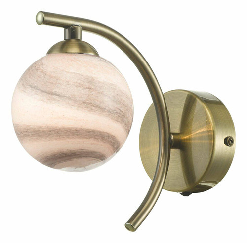 Dar Lighting Atiya Antique Brass with Planet Style Glass Wall Light