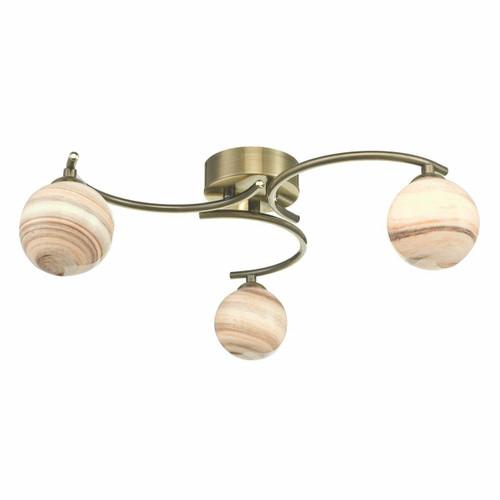 Dar Lighting Atiya 3 Light Antique Brass with Planet Style Glass Semi Flush Ceiling Light
