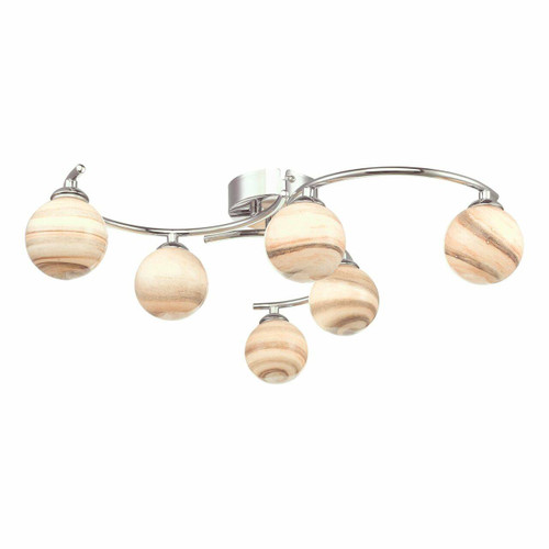 Dar Lighting Atiya 6 Light Polished Chrome with Planet Style Glass Semi Flush Ceiling Light