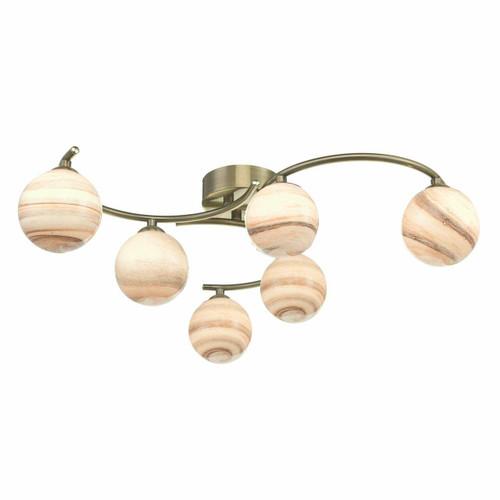 Dar Lighting Atiya 6 Light Antique Brass with Planet Style Glass Semi Flush Ceiling Light